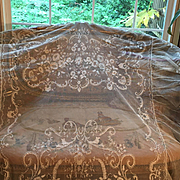 Fabulous Antique French Tambour Lace Bed cover-Bridal Veil/Dress
