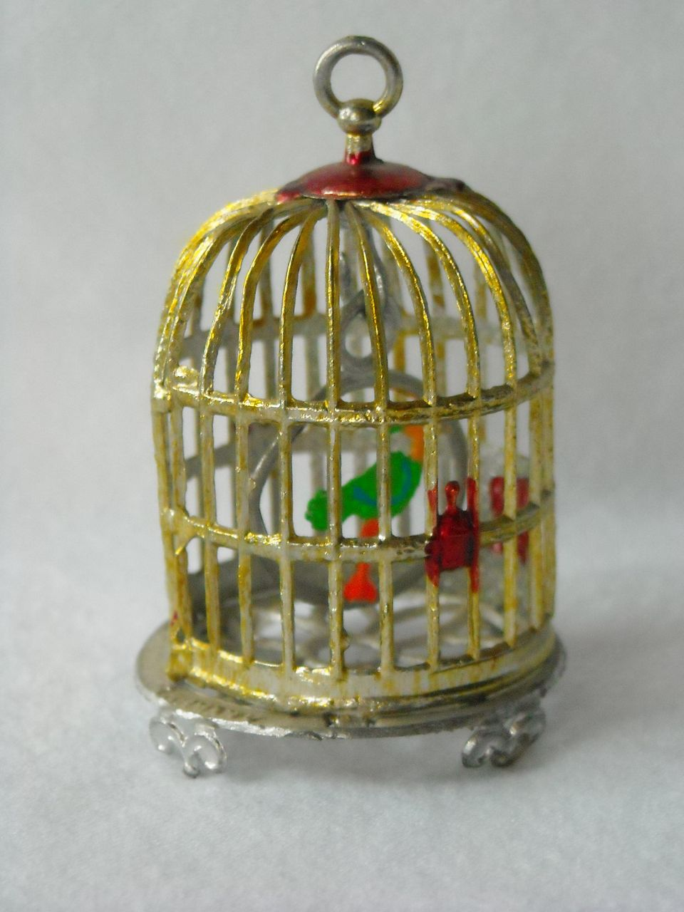 Antique German Soft Metal Doll House Bird Cage