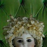 Very Fancy Antique Lace Doll Bonnet