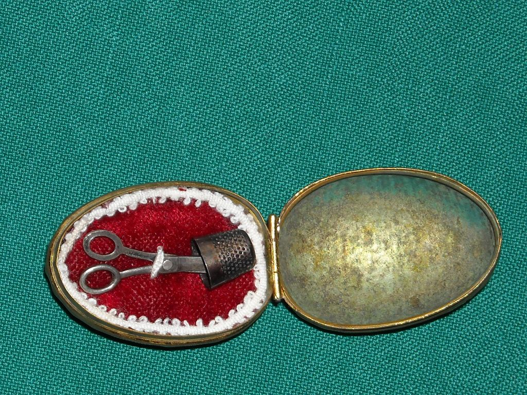 Antique sewing kit, scissors and thimble in an egg for your French Fashion or Bebe Doll