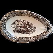 Aesthetic Movement Wedgwood Beatrice Brown Transferware Relish Dish c.1880