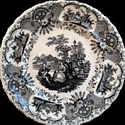 19th Century Black Transferware Dinner Plate ~ Spanish Beauties