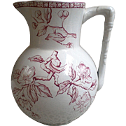 Victorian Aesthetic Red Ironstone Pitcher ~ Floral