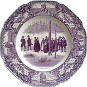 "Crown Ducal Mulberry ""Going to Church"" Purple Dinner Plate c.1930s"