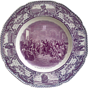 """Crown Ducal Mulberry """"Marriage of Pocahontas"""" Purple Dinner Plate c.1930s"""