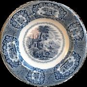 Flow Blue Staffordshire Oriental Soup Bowl