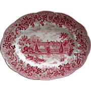 Red Transferware Oval Platter by JG Meakin - Romantic England