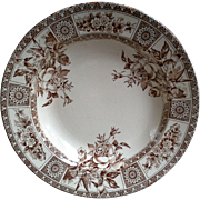 Aesthetic Movement, Brown Transferware, Ironstone, Soup Plate Bowl, Garfield, England, 1885