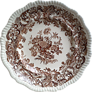 Copeland Spode Brown Floral Transferware Dinner Plate
