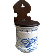 Salt Box with Wooden Lid in Blue Onion Pattern