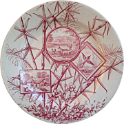 J.H. Davis Chatworths Red Aesthetic Movement Red Transferware Plate