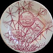 J.H. Davis Chatsworth Red Aesthetic Movement Red Transferware Plate