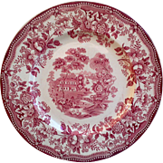 Clarice Cliff Tonquin Red Transferware Staffordshire Dinner Plate