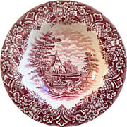 W. H. Grindley & Co., Red Transferware Soup Bowl