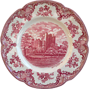 "Johnson Brothers Red Transferware Dinner plate ~ ""Blarney Castle 1792"""