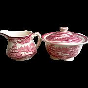 Clarice Cliff Tonquin Red Transferware SET of 2  ~ Creamer & Covered Sugar Bowl