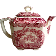 Mason's Vista Red Transferware Tea Pot