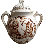 Childrens Transferware Staffordshire Allertons Punch and Judy Biscuit Jar Soft Paste Brown Transferware, circa 1880