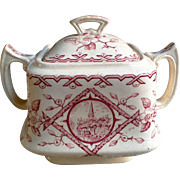 "Aesthetic Transferware Sugar Bowl ""ALASKA"" Whittaker & Co Staffordshire England 1885"
