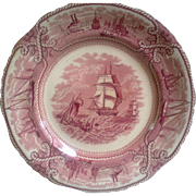 Mason's American Marine Pink Transferware Cabinet Plate ~ FREE SHIPPING IN USA