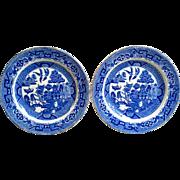 Set of 2 Blue Willow Side Plates, Semi China,  Ridgways England, c.1915