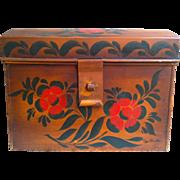 Toleware Stenciled Decorated Domed Document, Bread Box