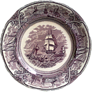 Mason's American Marine Purple Transferware Cabinet Plate ~ FREE USA SHIPPING