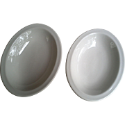 Shenango China Oval Shallow Bowls ~ White ~ Pair