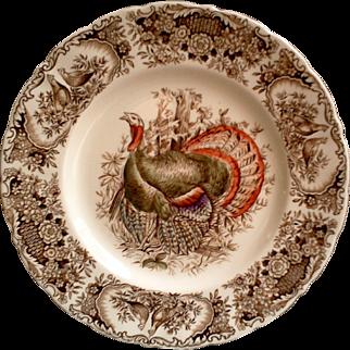 Vintage Johnson Brothers Wild Turkey Dinner Plate