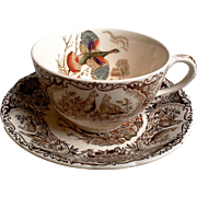 "Vintage Johnson Brothers Windsor Ware, ""Wild Turkey Flying"" Tea Cup and Saucer Set"