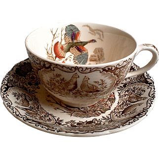 Vintage Johnson Brothers Windsor Ware Wild Turkey Flying Tea Cup and Saucer Set