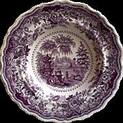 "Antique Staffordshire Purple/Mulberry Transferware Scalloped Edged bowl ""Italian Villas"""