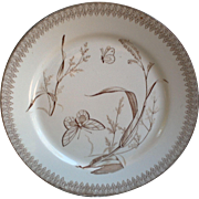 "T & R Boote Aesthetic Movement Brown Transferware ""Summer Time"" Pattern Dinner Plate"