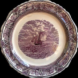 Mason's American Marine Purple ~ Large Round Platter, Transferware, Cabinet Plate