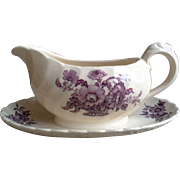 Purple Royal Staffordshire English Gravy Boat with Liner ~ Charlotte ~ Clarice Cliff