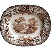 Brown Transferware Platter - Clarice Cliff - Tonquin