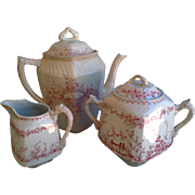 Antique Tea Set Set ~ Ridgways Prairie FlowersTea Pot, Creamer, Sugar Pot ~ c. 1800s