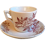 Childrens Transferware Tea Cup and Saucer Set
