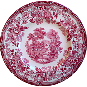 Clarice Cliff Tonquin Red Transferware Staffordshire Side Plate