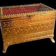 Filigree Ormolu Dresser Box or Jewelry Casket with Beveled Glass Lid