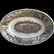 "Aesthetic Movement Era ~ Oval Platter 11"" ~ Sail Boats ~ 1883"