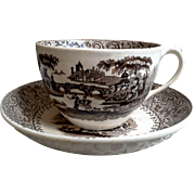 Tea Cup and Saucer ~  AURORA ~  Beech and Hancock ~ Staffordshire ~ Brown Transferware, 1800s
