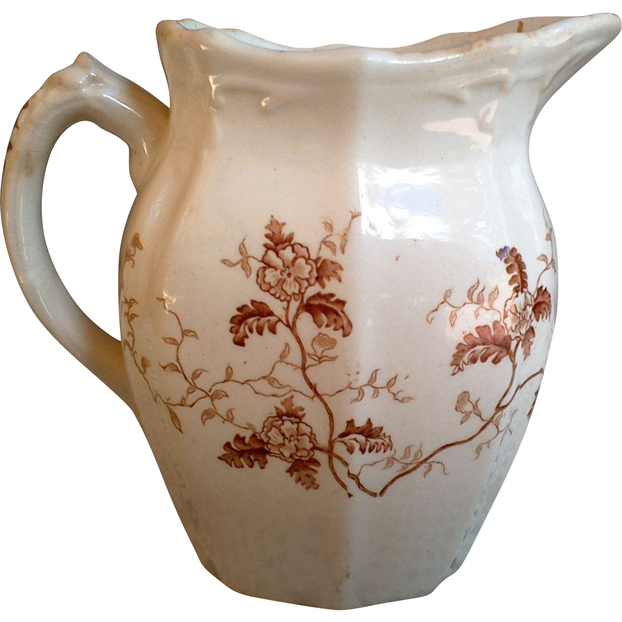 "Brown Transferware Pitcher by Mellor and Taylor ~ Semi Porcelain ~ ""Fern"""