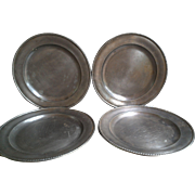SET OF 4  Italian Pewter Plates ~ Peltro ~ Made in Italy ~ FREE SHIPPING IN USA
