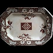 Antique Brown Transferware Aesthetic Movement Platter ~ Henry Alcock ~ Avon