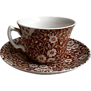 Brown Calico Tea Cup and Saucer ~ English Transferware