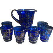 Antique Cobalt Blue Glass Pitcher and Six Glasses with Silver Overlay
