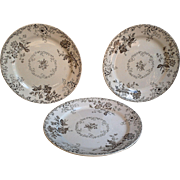 Set of 3 Aesthetic Brown Transferware Plates - Chelsea 1884