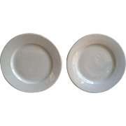 White Ironstone Plates ~ Set of 2 ~  Vintage ~ Shenango PA