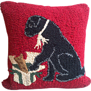 Vintage Dog with Present Design Hooked Pillow